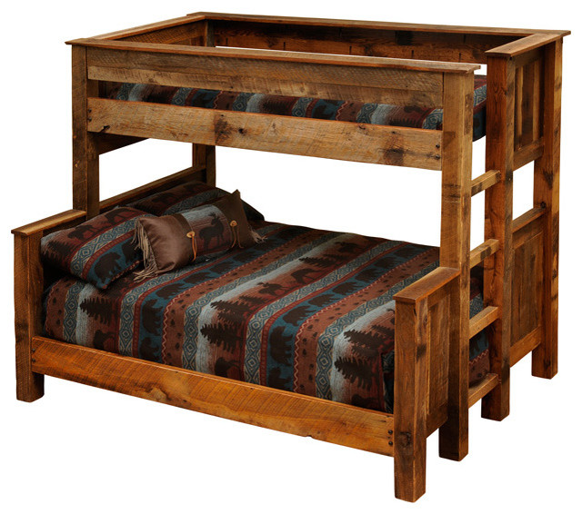 Barnwood beds twin over full barnwood bunk beds rustic for Diy rustic bunk beds