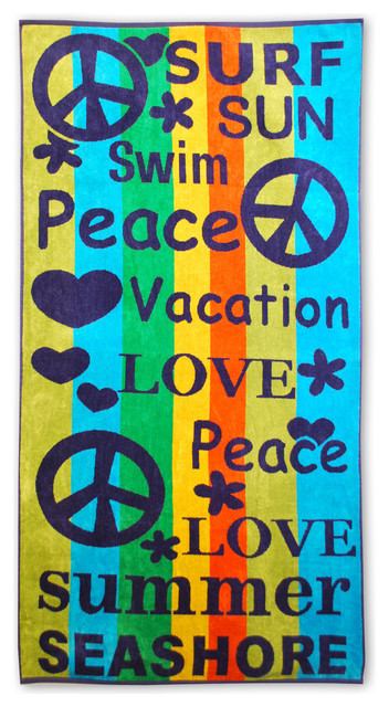 Luxurious Over-Sized Jacquard Cotton Beach Towel, Peace And Love.