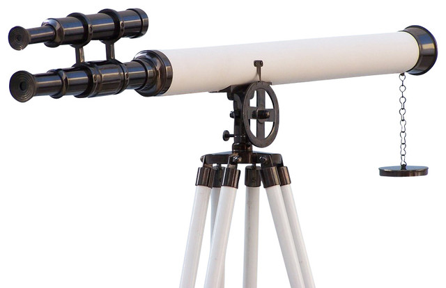 Floor Standing Griffith Astro Telescope, Oil-Rubbed Bronze/White Leather, 64""