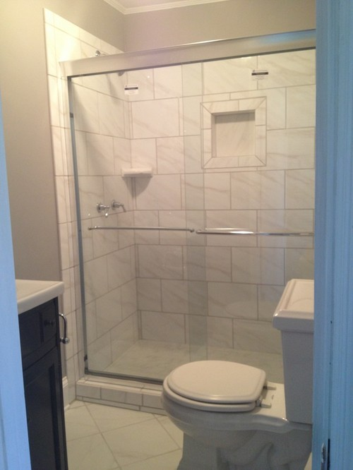 Tiny Bathroom Bianco Carrara Porcelain Tile