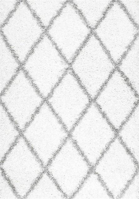 nuLOOM Shag Shanna Area Rug, White, 8'x10'