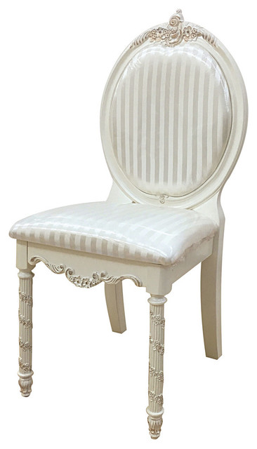Pearl Chair, Pearl White/Gold Brush Accent Victorian Armchairs And Accent