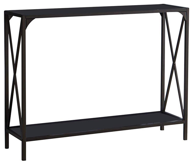 Allegheny Entryway Sofa Console Table With Storage Pewter Metal Black Gl