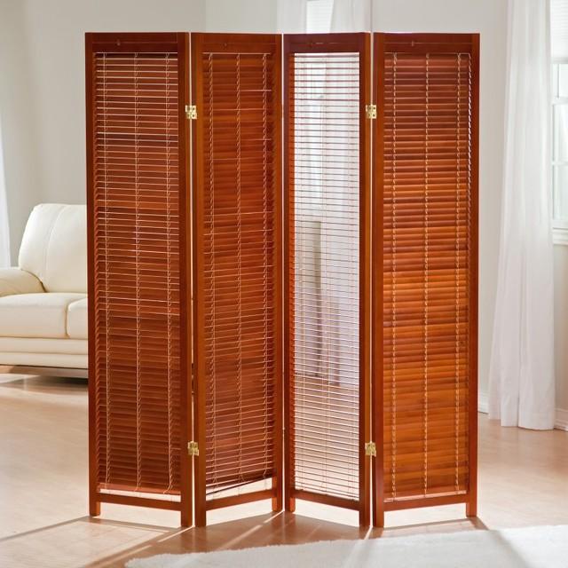 Tranquility Wooden Shutter Screen Room Divider In Honey Brown Ckg007