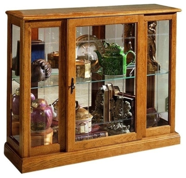 Pulaski Golden Oak III Console Curio Display Cabinet ...