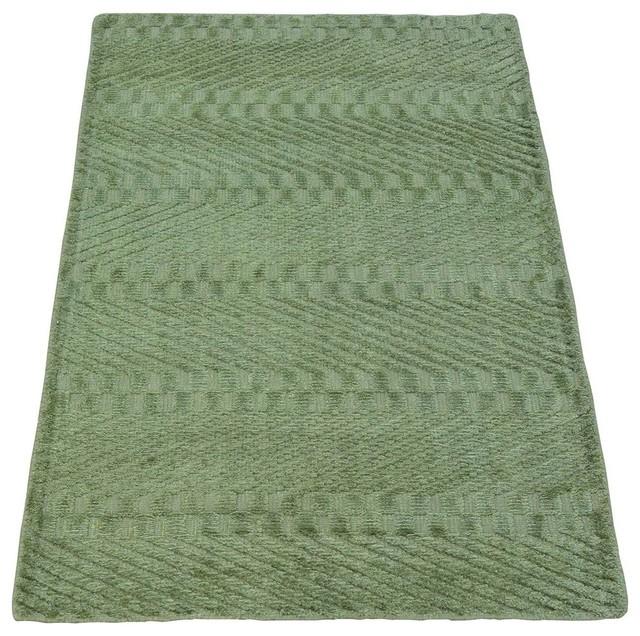 2'x3' Light Green Tone On Tone Bamboo Silk Modern Handmade