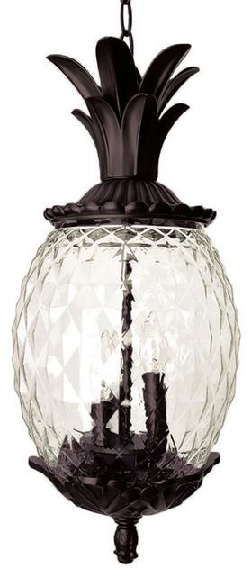 Lanai Collection Hanging Lantern 3 Light Outdoor Light, Black Coral  Tropical Outdoor