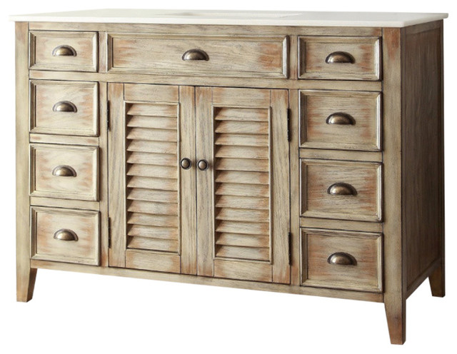 "Abbeville Bathroom Vanity, Distressed Beige, 46""."