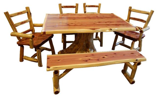 Rustic Red Cedar Log Tree Stump Dining Set