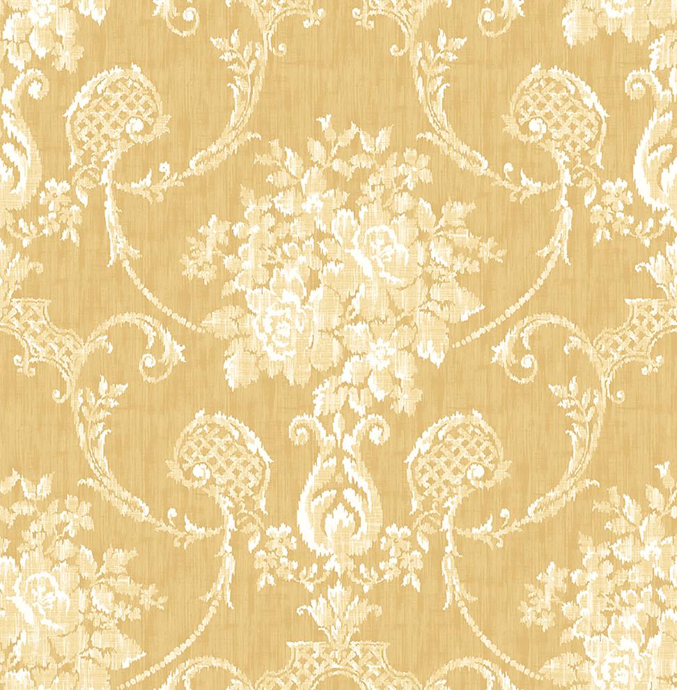 Mirabelle Winsome Mustard Floral Damask Wallpaper Mediterranean