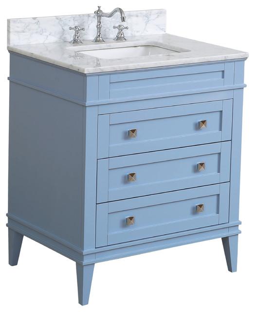 "Eleanor Bathroom Vanity, Powder Blue, 30"", Carrara Marble Top"