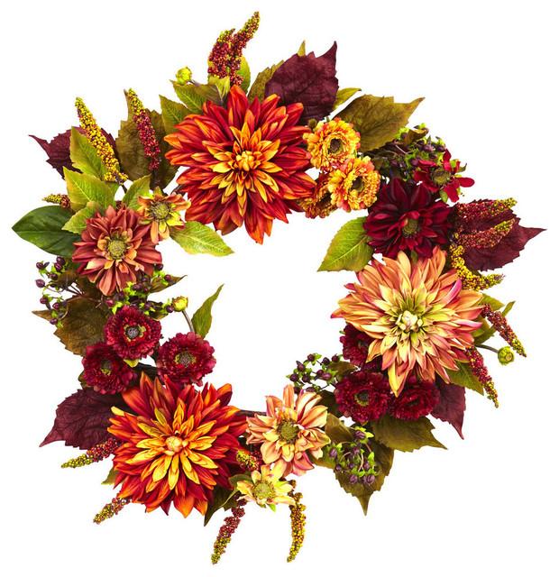 "22"" Dahlia & Mum Wreath."