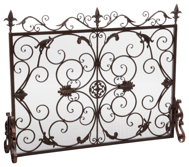 Darcie Wrought Iron Fireplace Screen, Gold Finish.
