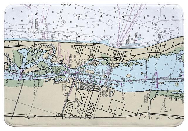 Fl Vero Beach Fl Nautical Chart Memory Foam Bath Mat Contemporary Bath Mats By Island Girl Home Inc