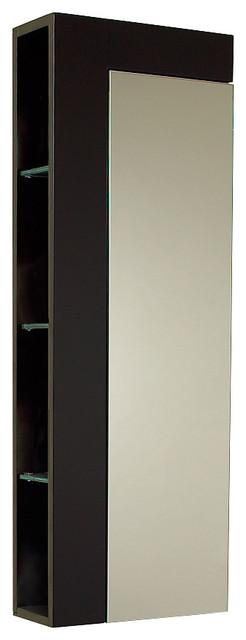 Fresca Espresso Bathroom Linen Side Cabinet With Large Mirror Door.