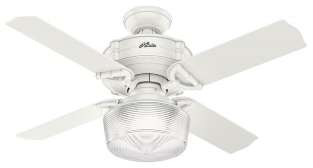 """44"""" Ceiling Fan With Light With Handheld Remote By Hunter, White Finish."""