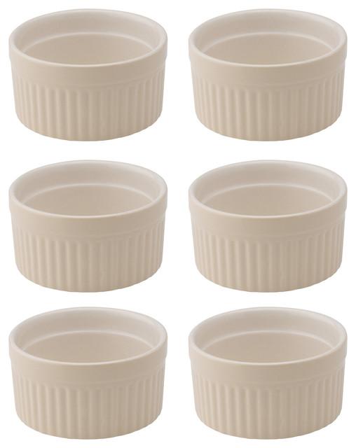 Ceramic Souffle Dishes, Set Of 6, Wheat, 4 Oz..