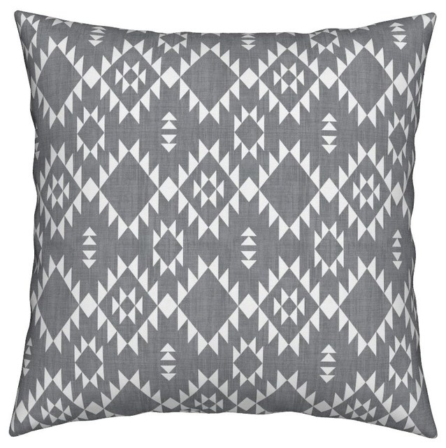 45e42fa143753 Gray Navajo Design Texture Geometric Native Throw Pillow, Linen Cotton