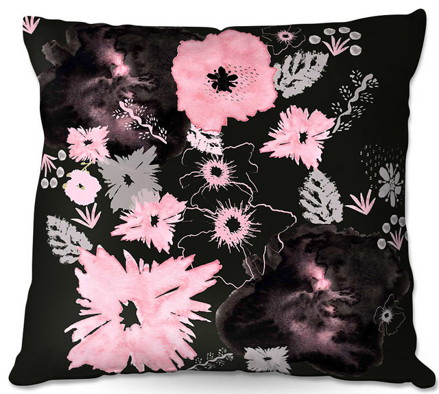 DiaNoche Outdoor Pillows By Julie Ansbro Black Pink Flowers Contemporary  Outdoor Cushions And