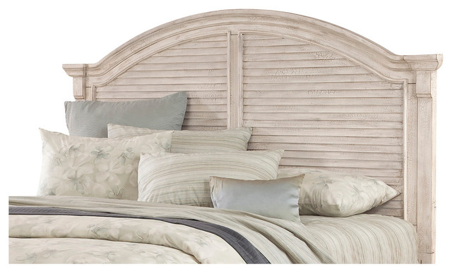 Cottage Traditions Crackled White Arched Panel Headboard Only, King.