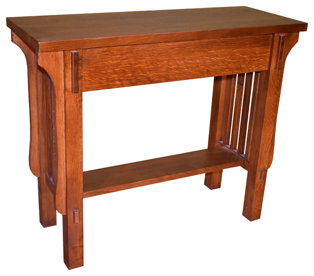 Mission Solid Quarter Sawn White Oak Console Table Craftsman Tables By Crafters And Weavers