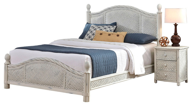 Home styles marco island 2 piece bed and nightstand set for Tropical bedroom furniture