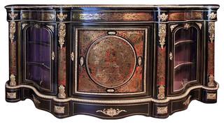 19th Century Boulle Inlay Vitrine Cabinet