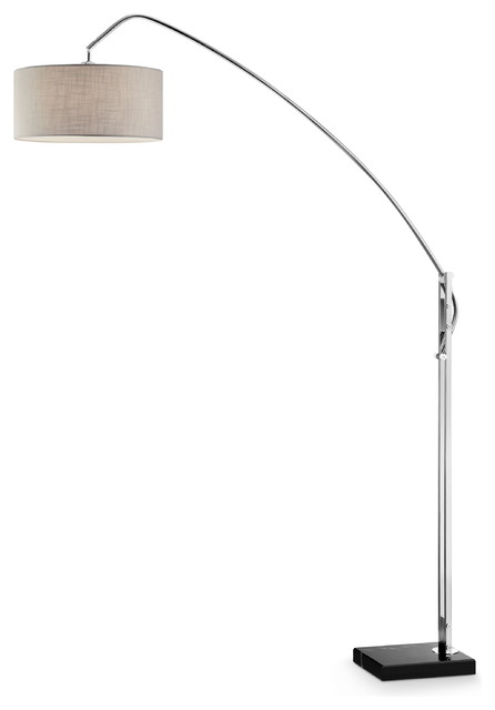 "78.5"" Tall Adjustable Metal Floor Lamp ""Avant"" W/ Nickel Finish, White Shade"