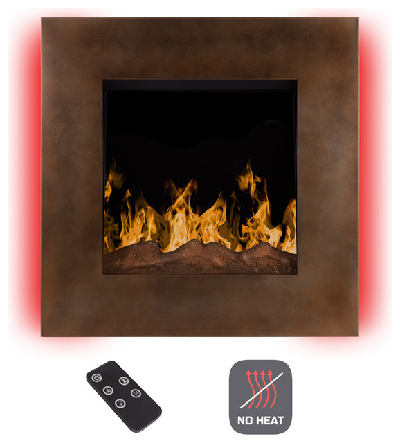 "No Heat 24"" Electric Led Fireplace With Remote, Dark Bronze By Northwest"