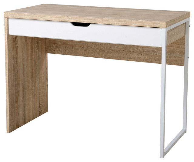 Modern Wood Steel Computer Desk Writing Table With Drawer