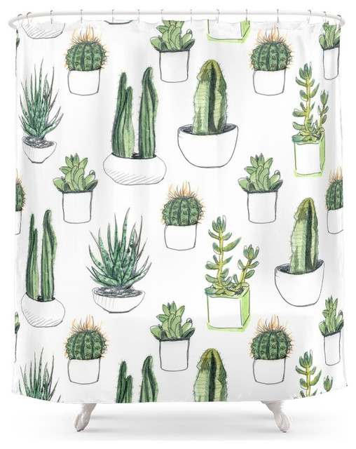Watercolor Cacti and Succulent Shower Curtain - Contemporary ...