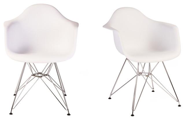 Tremendous Set Of 2 Dar White Mid Century Modern Dining Armchair Steel Eiffel Legs Cjindustries Chair Design For Home Cjindustriesco