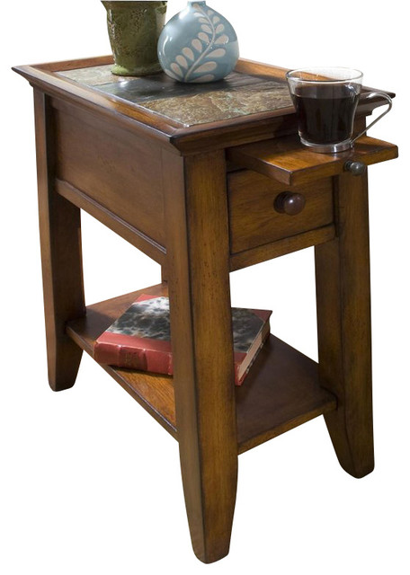 Delightful Riverside Andorra Chairside Table In Eden Burnished Cherry  Transitional Side Tables And