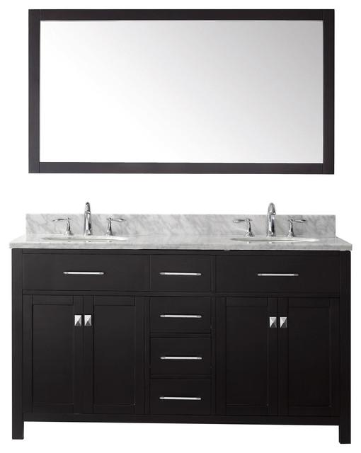 """Virtu Caroline 60"""" Double Bathroom Vanity, Espresso With Marble Top, Mirror."""