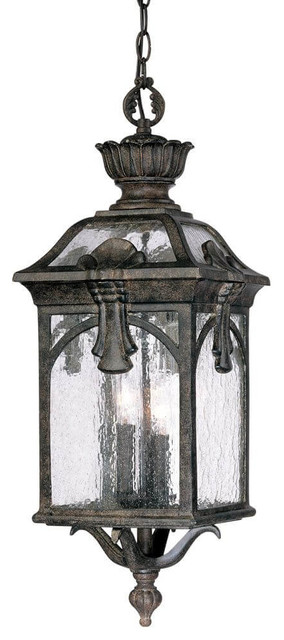 26 Tall Dark Bronze Outdoor Hanging Lantern-Light, Clear Seeded Glass.