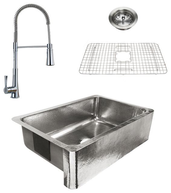 """Percy Polished Stainless All-in-One 32"""" Farmhouse Single Bowl, Zuri Faucet"""
