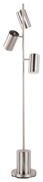 Cannes Modern Floor Lamp, Brushed Stainless Steel by LumiSource