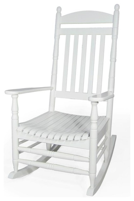 Solid Wood Porch Rocker In White Finish Contemporary