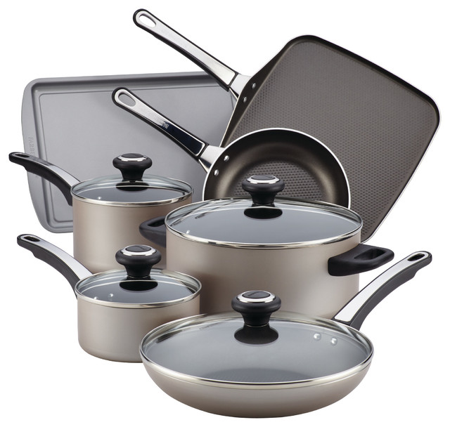Farberware High Performance Nonstick Aluminum 17-Piece Cookware Set, Champagne.