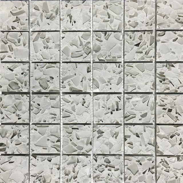 12 X12 Recycled Gl Mosaic Tiles For Backsplash Martini Flint Chip
