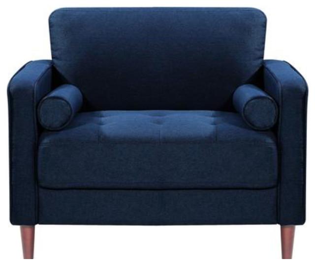 Mid Century Modern Chair In Navy Blue