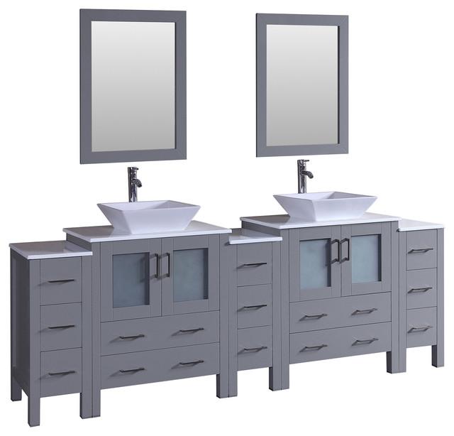 96 Bosconi Gray Double Vanity Bathroom Vanities And Sink Consoles
