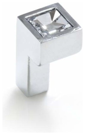 Topex Hardware P2044Crlswa Small Square Swarovski Crystal Knob Chrome  contemporary-cabinet-and-drawer