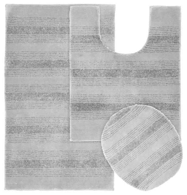 Essence Nylon Washable Bathroom Three Piece Rug Set, Linen - Transitional - Bath Mats - by Garland Rug