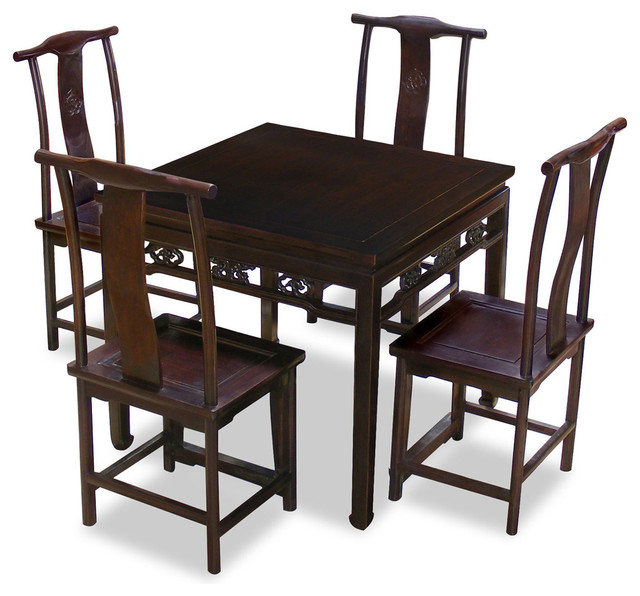 Elmwood Ba-Xian Table With Four Ming Chairs