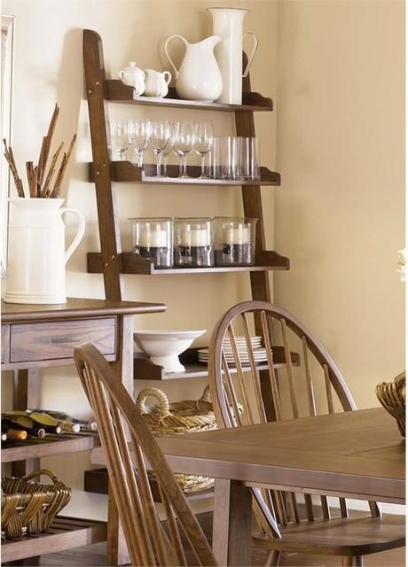 Liberty Furniture Farmhouse 5-Shelf Leaning Bookcase, Weathered Oak.