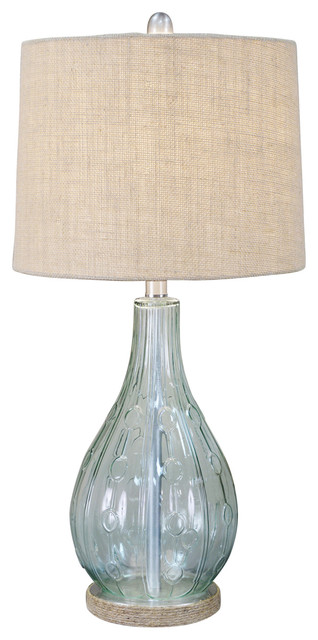 Emma Embossed Glass Table Lamp, Blue.