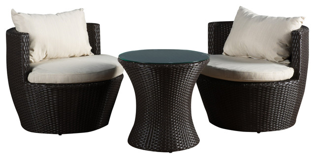 Kyoto Outdoor Brown Wicker Chat 3 Piece Set Tropical Outdoor Lounge Sets