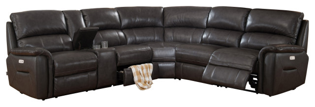 Hydeline Camino Leather Reclining Sectional, Charcoal Gray