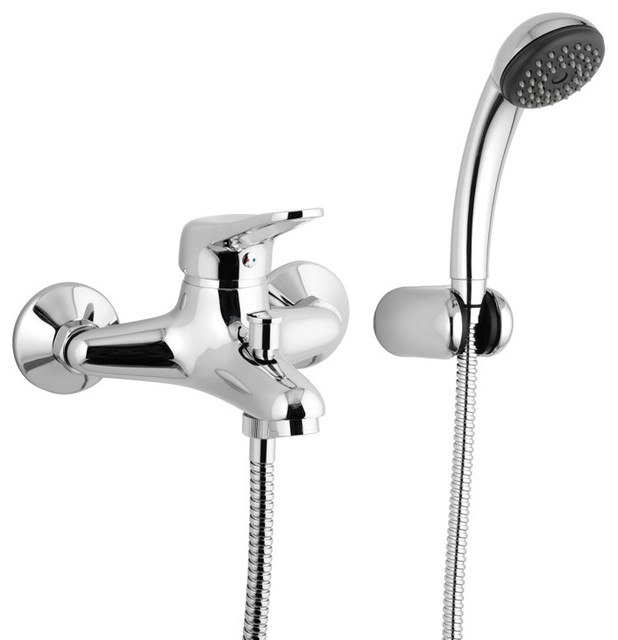 Wall-Mounted Tub Filler Set With Handshower - Contemporary ...